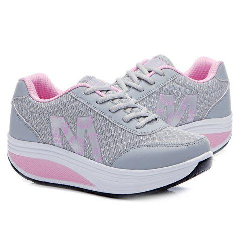 Best Stylish Lace-Up and Letter Design Athletic Shoes For Women - 37 LIGHT GRAY Mobile