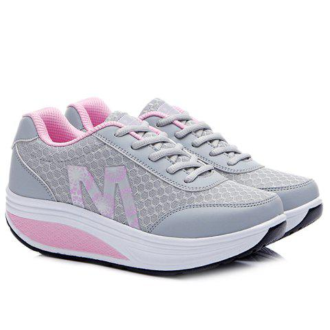 Unique Stylish Lace-Up and Letter Design Athletic Shoes For Women - 37 LIGHT GRAY Mobile