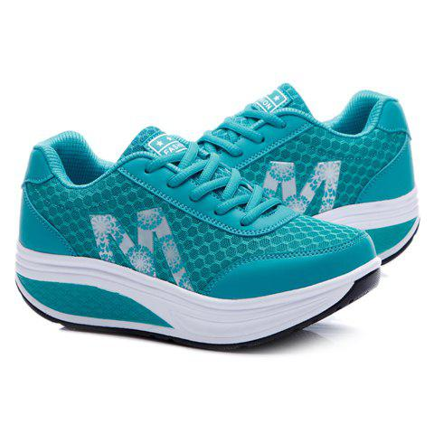 New Stylish Lace-Up and Letter Design Athletic Shoes For Women - 36 BLUE Mobile