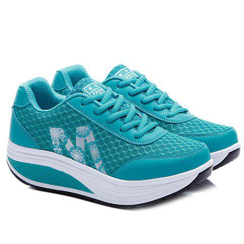 Buy Stylish Lace-Up and Letter Design Athletic Shoes For Women - 37 BLUE Mobile
