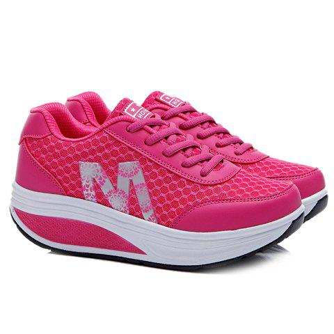 Buy Stylish Lace-Up and Letter Design Athletic Shoes For Women - 40 ROSE Mobile