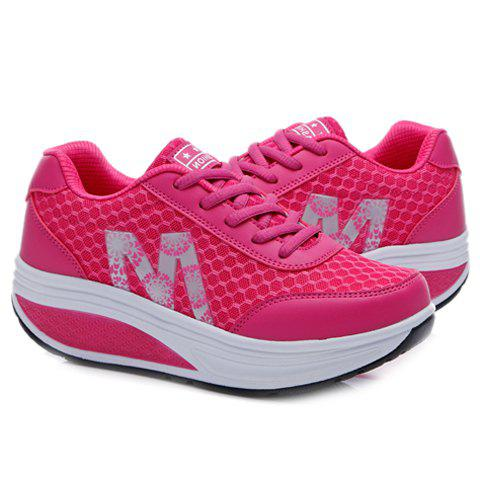 Hot Stylish Lace-Up and Letter Design Athletic Shoes For Women - 40 ROSE Mobile