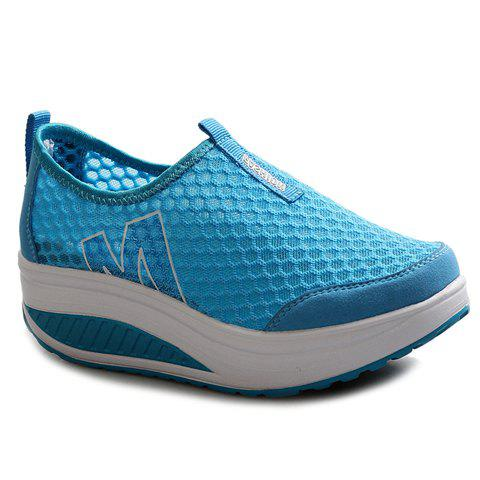 New Casual Letter and Splicing Design Athletic Shoes For Women - 37 LAKE BLUE Mobile