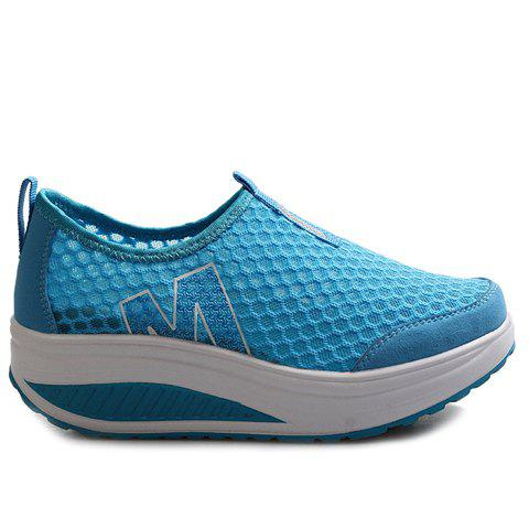 Sale Casual Letter and Splicing Design Athletic Shoes For Women - 37 LAKE BLUE Mobile