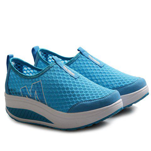 Shop Casual Letter and Splicing Design Athletic Shoes For Women - 37 LAKE BLUE Mobile