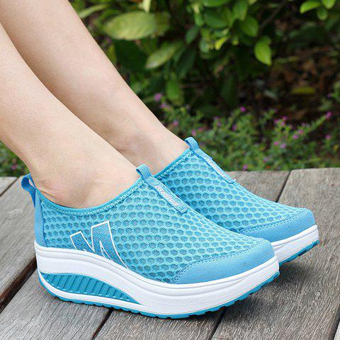 Trendy Casual Letter and Splicing Design Athletic Shoes For Women - 37 LAKE BLUE Mobile