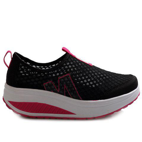 Trendy Casual Letter and Splicing Design Athletic Shoes For Women - 38 BLACK Mobile