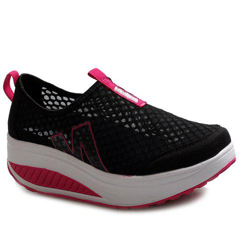 Discount Casual Letter and Splicing Design Athletic Shoes For Women - 38 BLACK Mobile