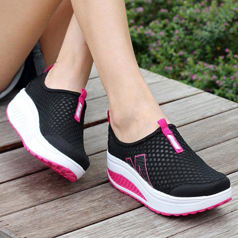 Cheap Casual Letter and Splicing Design Athletic Shoes For Women - 39 BLACK Mobile