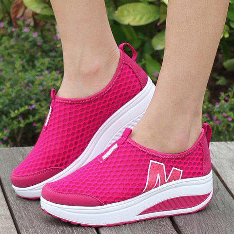 Sale Casual Letter and Splicing Design Athletic Shoes For Women - 36 ROSE Mobile