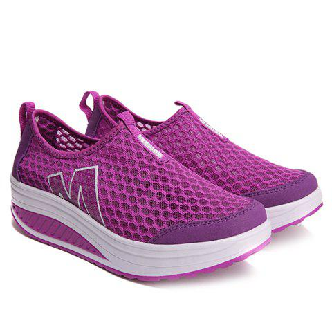 Hot Casual Letter and Splicing Design Athletic Shoes For Women - 39 PURPLE Mobile