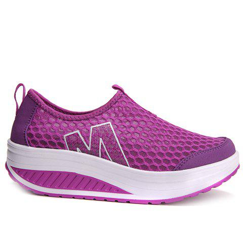 Fashion Casual Letter and Splicing Design Athletic Shoes For Women - 39 PURPLE Mobile
