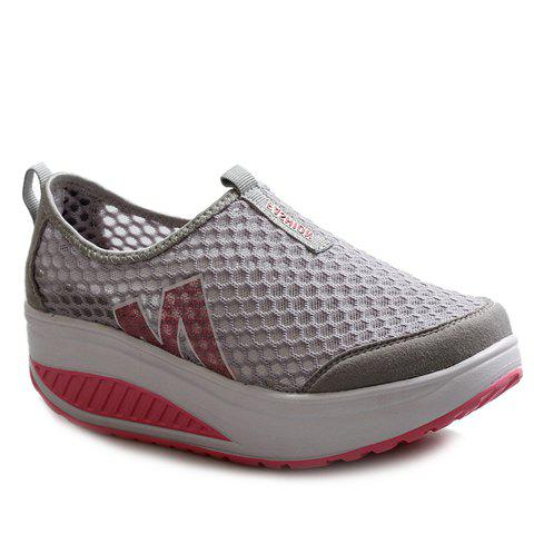Best Casual Letter and Splicing Design Athletic Shoes For Women GRAY 37