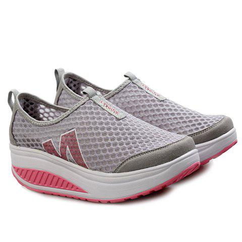 Trendy Casual Letter and Splicing Design Athletic Shoes For Women - 39 GRAY Mobile