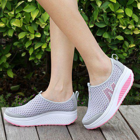 Online Casual Letter and Splicing Design Athletic Shoes For Women - 39 GRAY Mobile
