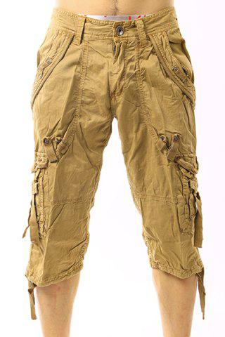 Outfits Plus Size Narrow Feet Capri Cargo Pants KHAKI 38