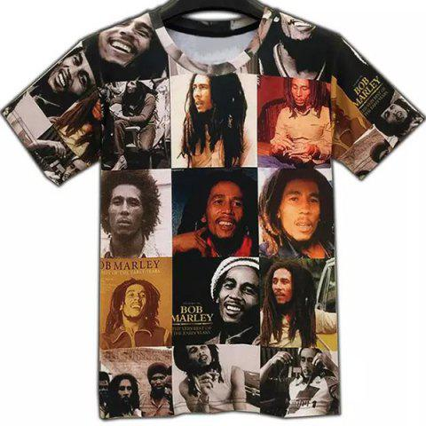 Online Casual Round Collar Figures Printed T-Shirt For Men COLORMIX 2XL
