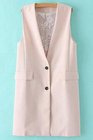 New Stylish Collarless Solid Color Lace Spliced Women's Waistcoat