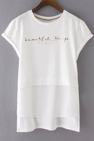 Trendy Casual Rolled Sleeve Letter Pattern Ligh Low Women's T-Shirt