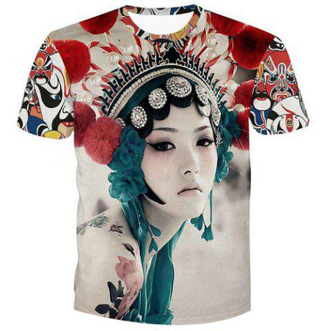 Unique Fashion Pullover Peking Opera Actress Printed Men's T-Shirt
