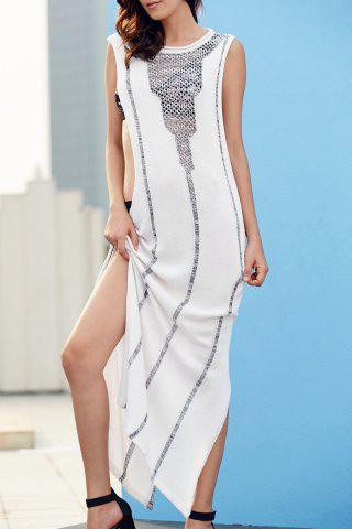 Outfits Stylish Round Neck Sleeveless Hollow Side Slit Women's Maxi Dress - M WHITE Mobile