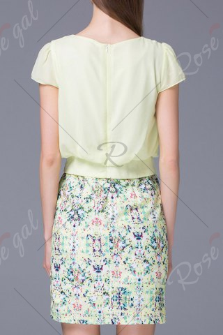 Shops Refreshing Pleated Women's Floral Faux Twinset Dress - M LIGHT GREEN Mobile