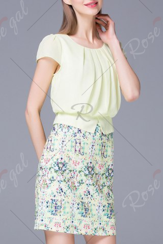 Best Refreshing Pleated Women's Floral Faux Twinset Dress - M LIGHT GREEN Mobile