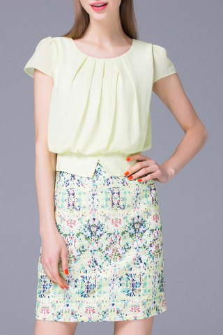Outfits Refreshing Pleated Women's Floral Faux Twinset Dress