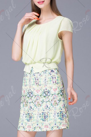 Fancy Refreshing Pleated Women's Floral Faux Twinset Dress - M LIGHT GREEN Mobile
