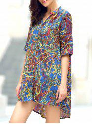 Vintage V-Neck Floral Print Half Sleeve Blouse For Women