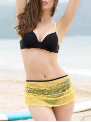 Push Up Bikini + Yellow Skirt + T-Shirt Four Piece Swimwear