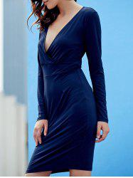 Sexy Plunging Neck Long Sleeve Bodycon Pure Color Women's Dress -