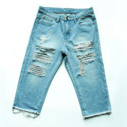 Casual Frayed Bermuda Denim Long Shorts - LIGHT BLUE