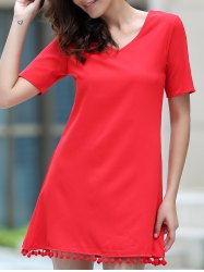 Graceful V Neck Short Sleeve Solid Color Tassels Embellished Dress For Women
