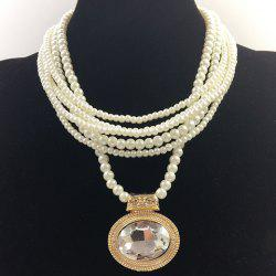 Multilayered Fake Gem Pearl Beaded Chain Necklace