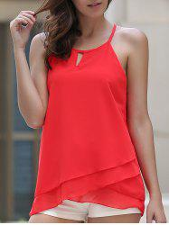 Stylish Spaghetti Strap Sleeveless Chiffon Layered Red Tank Top For Women