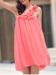 Mini One Shoulder Chiffon Swing Dress - WATERMELON RED