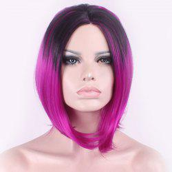 Elegant Straight Middle Part Synthetic Bob Style Black Gradient Purple Medium Cosplay Wig For Women -
