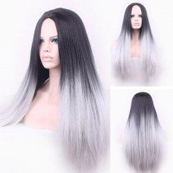 Attractive Long Straight Vogue Black Ombre Gray Middle Part Synthetic Cosplay Wig For Women