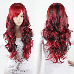 Charme Long Black Mixed Red Shaggy Curly Bang Side perruque synthétique cosplay pour les femmes - Rouge Et Noir