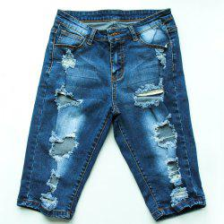 Bermuda Ripped Denim Long Shorts - DENIM BLUE
