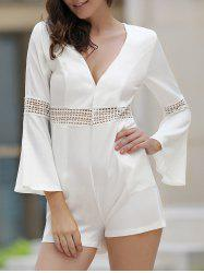 Chic Plunging Neck Bell Sleeve Pocket Design Hollow Out Women's Romper -