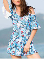 Trendy 3/4 Sleeve Floral Print Cut Out Women's Swimwear -