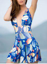 Refreshing Criss-Cross Leaf Print Hollow Out Women's Swimwear - SAPPHIRE BLUE L