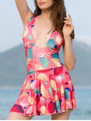 Refreshing Criss-Cross Leaf Print Hollow Out Women's Swimwear