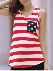 Polka Dot Bowknot Decorated Striped Tank Top