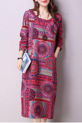 Ethnic Print Long Sleeve Midi Dress