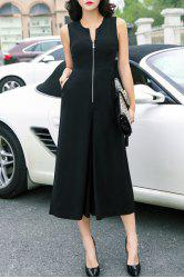 Chic Sleeveless High Waist Zippered Culottes Jumpsuit For Women