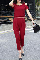 Brief Round Neck Cold Shoulder Detachable Jumpsuit For Women