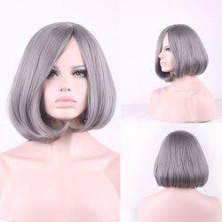Prevailing Grandma Ash Short Synthetic Bob Style Straight Tail Adduction Cosplay Wig For Women -
